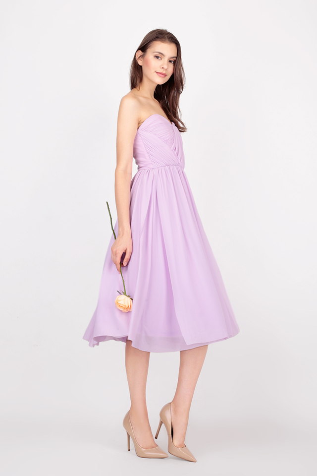 JULIETTE MESH MIDI DRESS IN LILAC