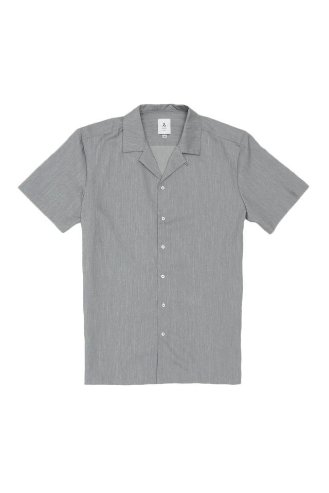 THEO SLIM-FIT CAMP COLLAR SHIRT IN GREY