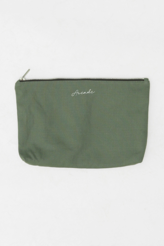 ARCADE SCRIPT LOGO CANVAS POUCH IN OLIVE