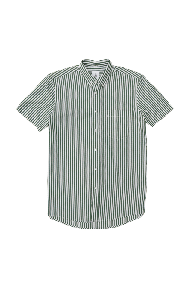 NATE SHORT SLEEVE STRIPE SHIRT IN FOREST
