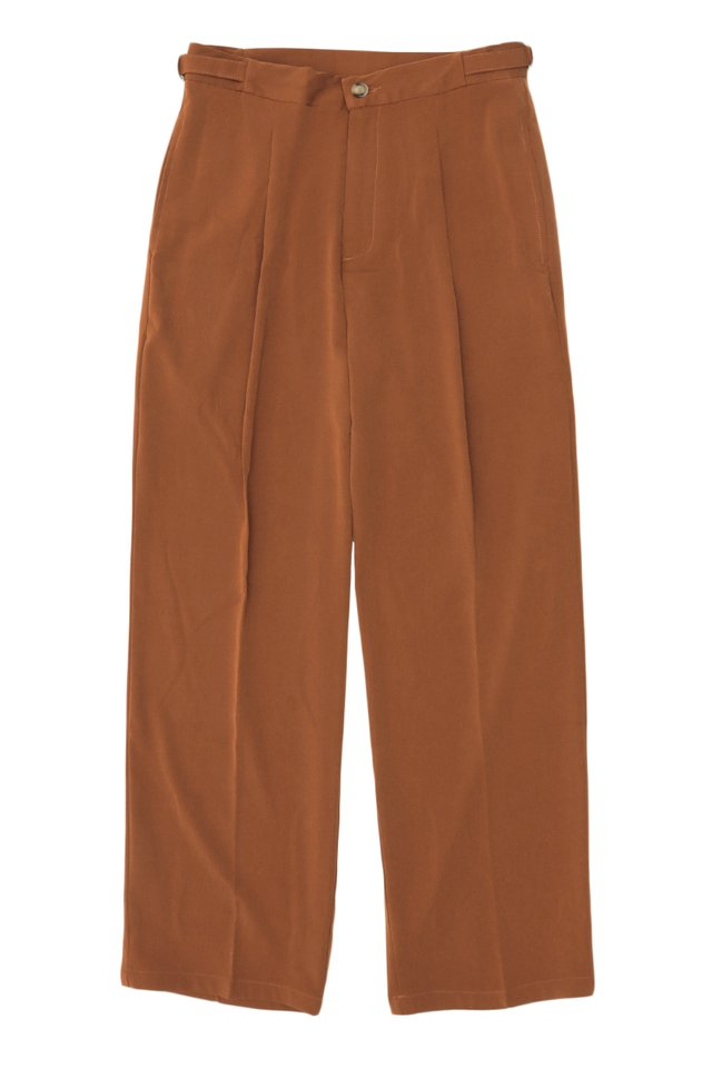 ARCADE x JUWAIDIJUMANTO WIDE-LEG TROUSERS IN RUST