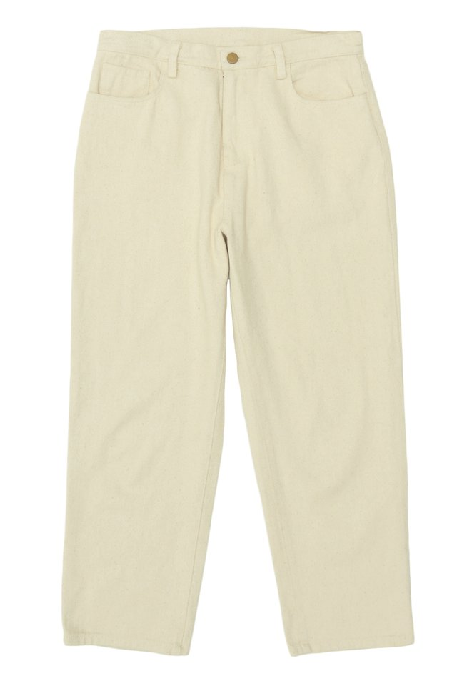 FLINT RELAXED-FIT TWILL TROUSERS IN ECRU