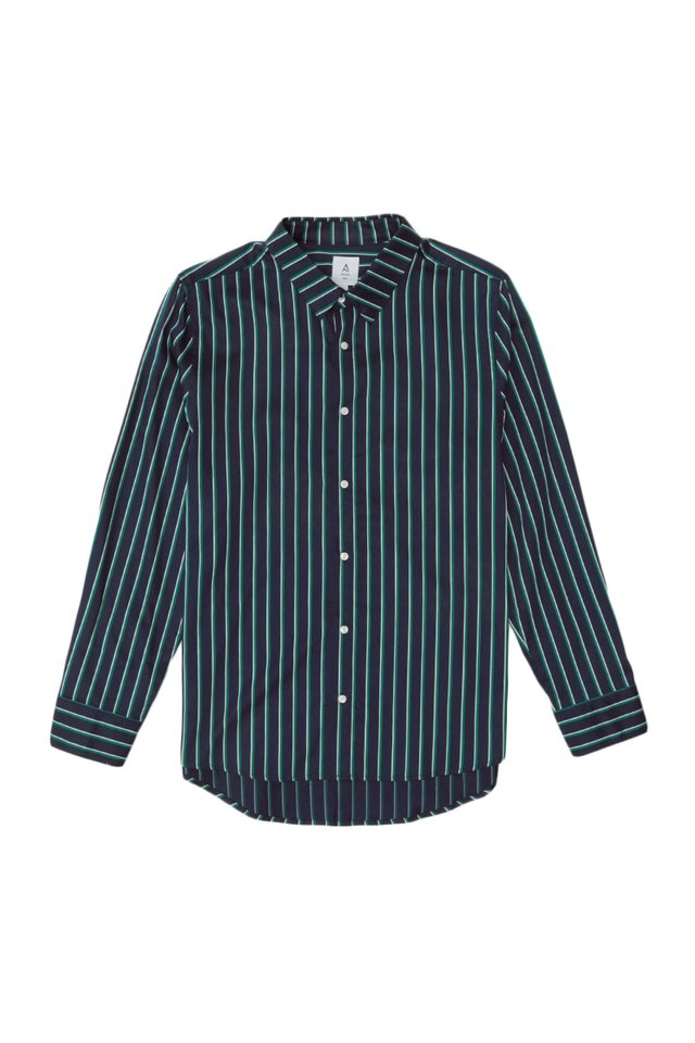 DORIAN LONG SLEEVE SHADOW STRIPE SHIRT IN GREEN STRIPES