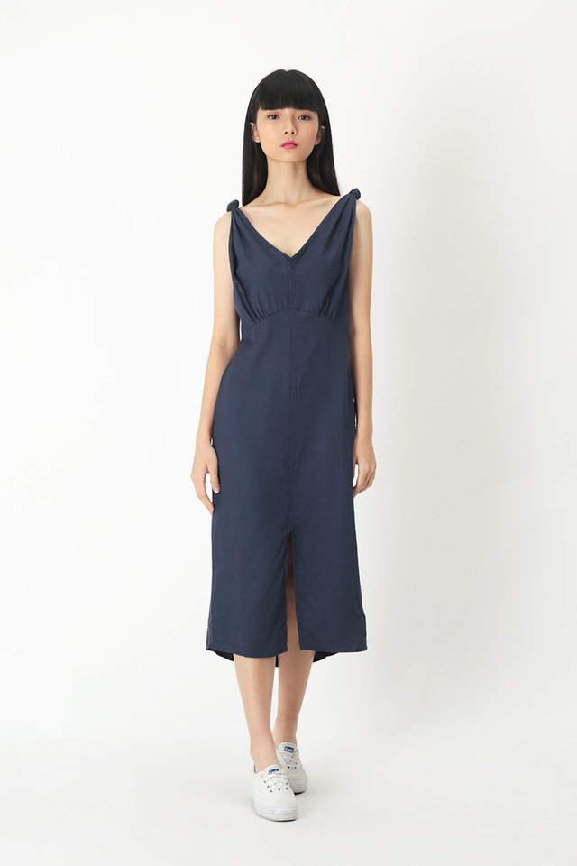WHITNEY MIDI DRESS IN NAVY