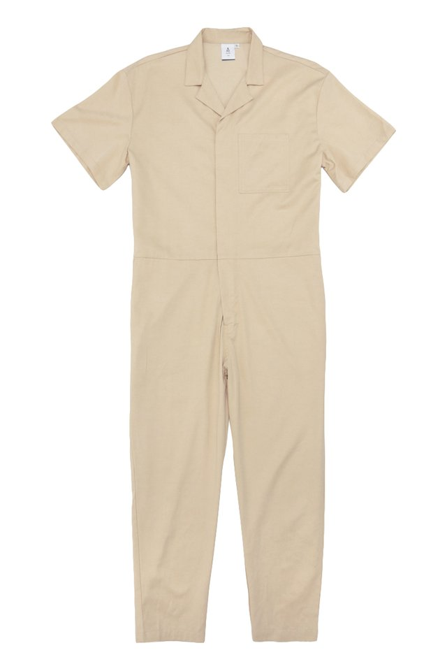 NIXON SHORT SLEEVE BOILERSUIT IN CREAM