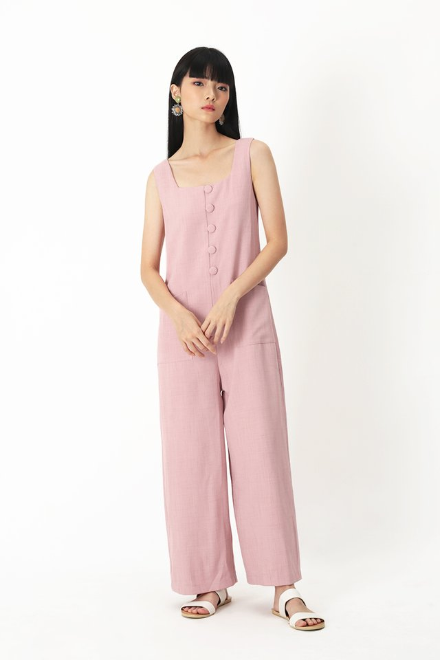 SURI BUTTON JUMPSUIT IN FRENCH PINK