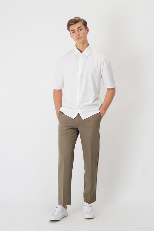 GARTH STRAIGHT-FIT TROUSERS IN TAUPE