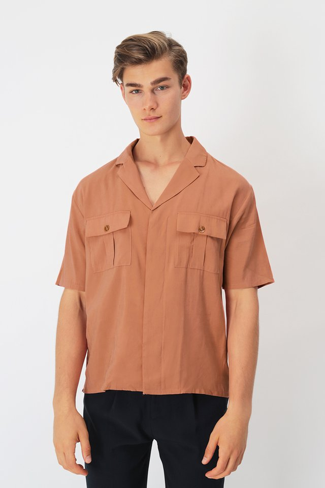 DREW CAMP COLLAR SAFARI SHIRT IN TANGERINE