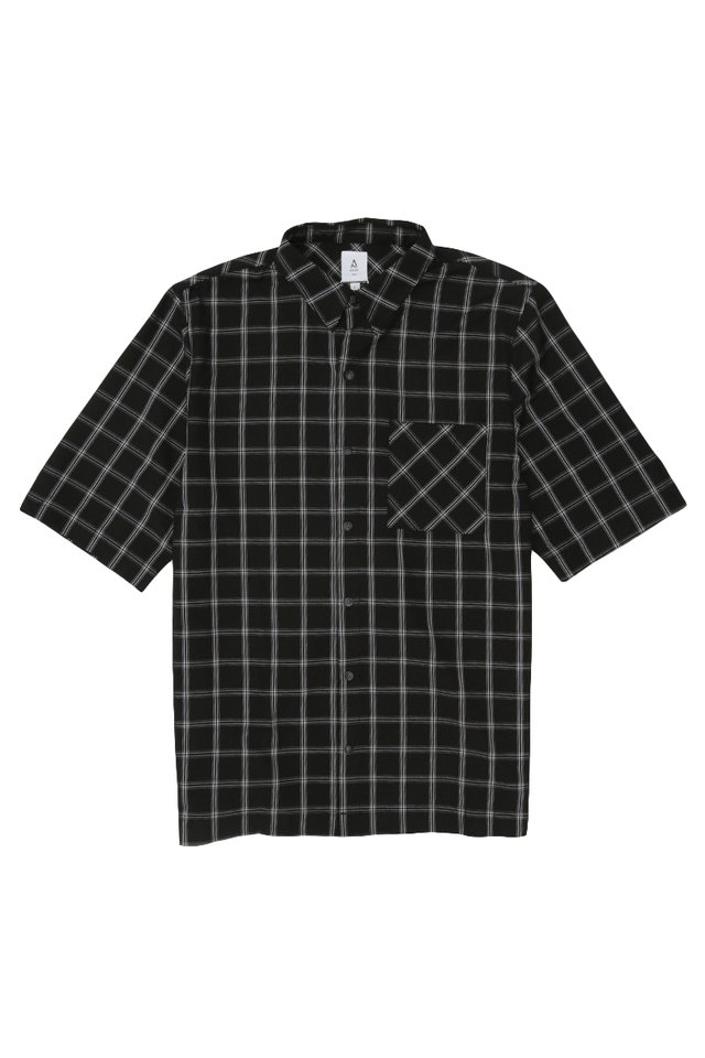 ARNOLD SHORT SLEEVE CHECKED SHIRT IN BLACK