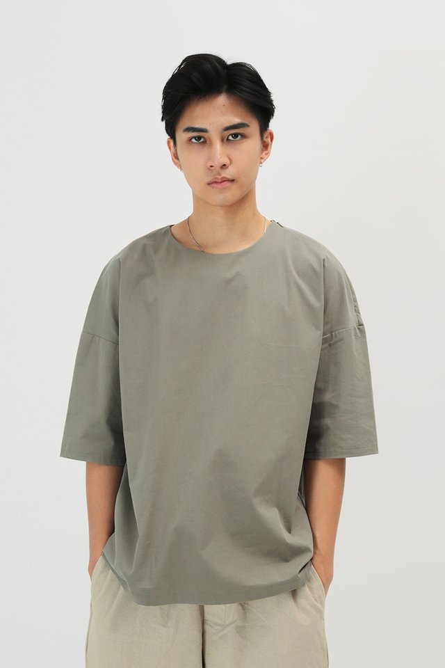 KODA ROUND NECK TOP IN GRANITE