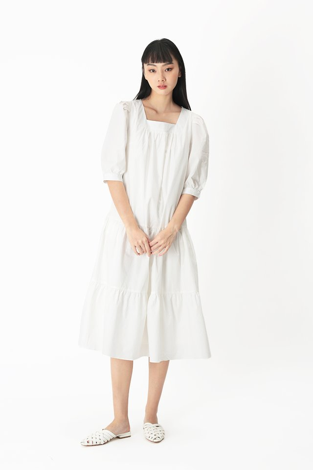 THERESE TIER DRESS IN WHITE