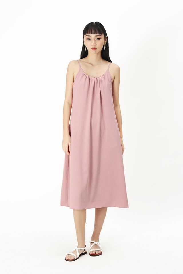 YVES SPAG MIDI DRESS IN FRENCH PINK