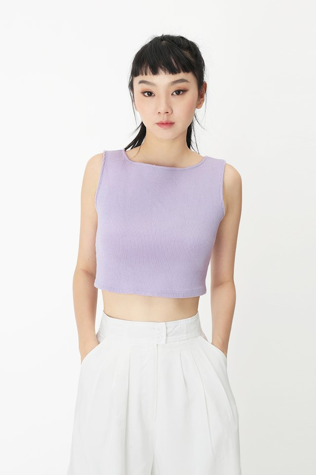 ANDRE RIBBED TANK TOP IN LILAC