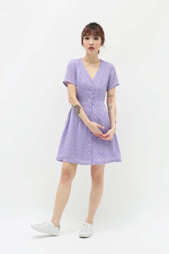PRISCA FLORAL DRESS IN LILAC