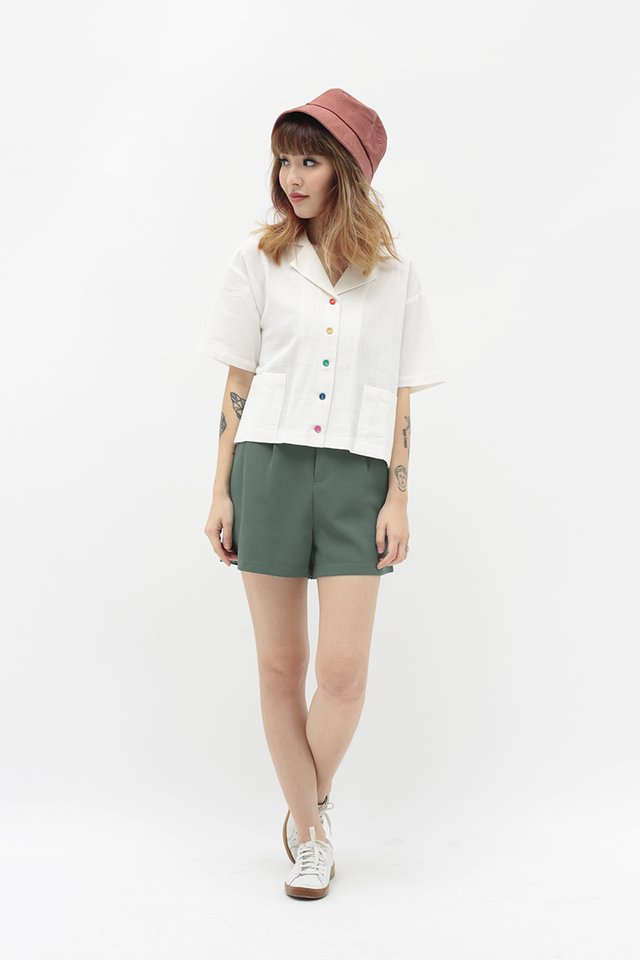 RAINBOW CONNECTION BUTTON SHIRT IN WHITE