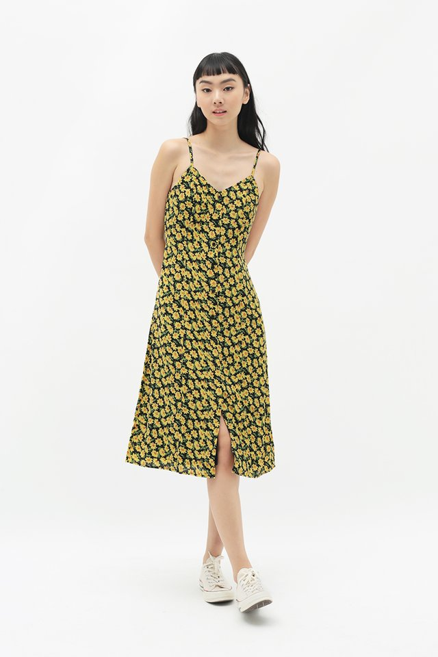 JOLIE FLORAL SPAG DRESS IN SUMMER YELLOW