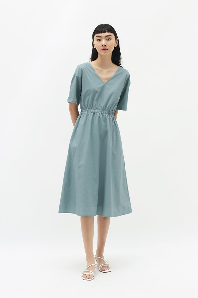 LEANDRA MIDI DRESS IN DUSK BLUE