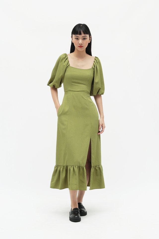 ADELAIDE PUFF SLEEVE DRESS IN PISTACHIO