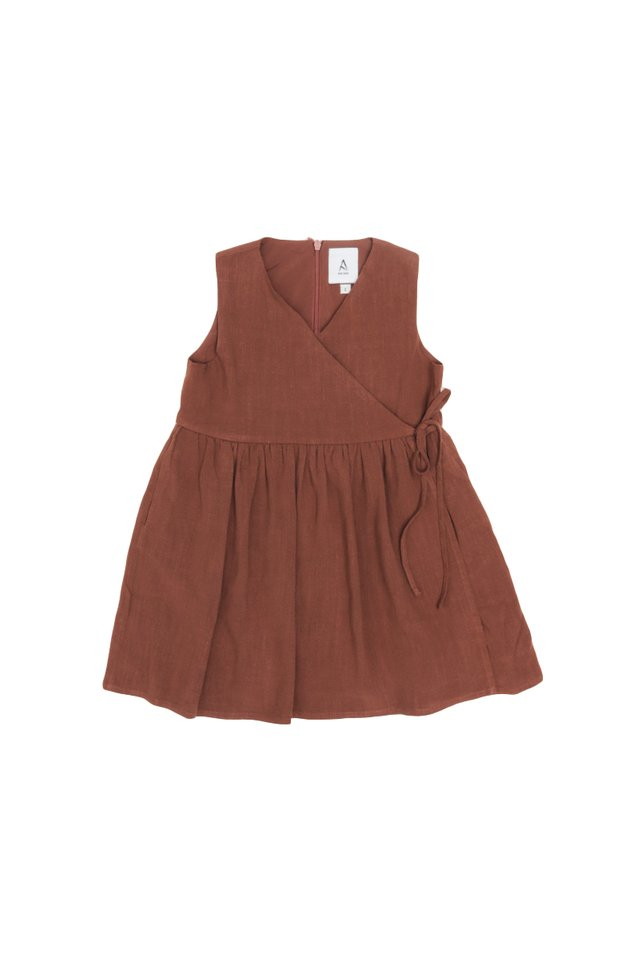 MARGO SIDE-TIE DRESS IN CEDAR