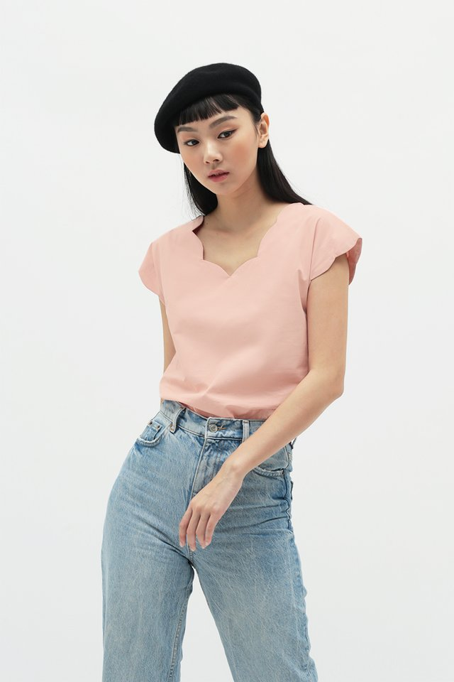 MARISE SCALLOP BLOUSE IN FRENCH PINK