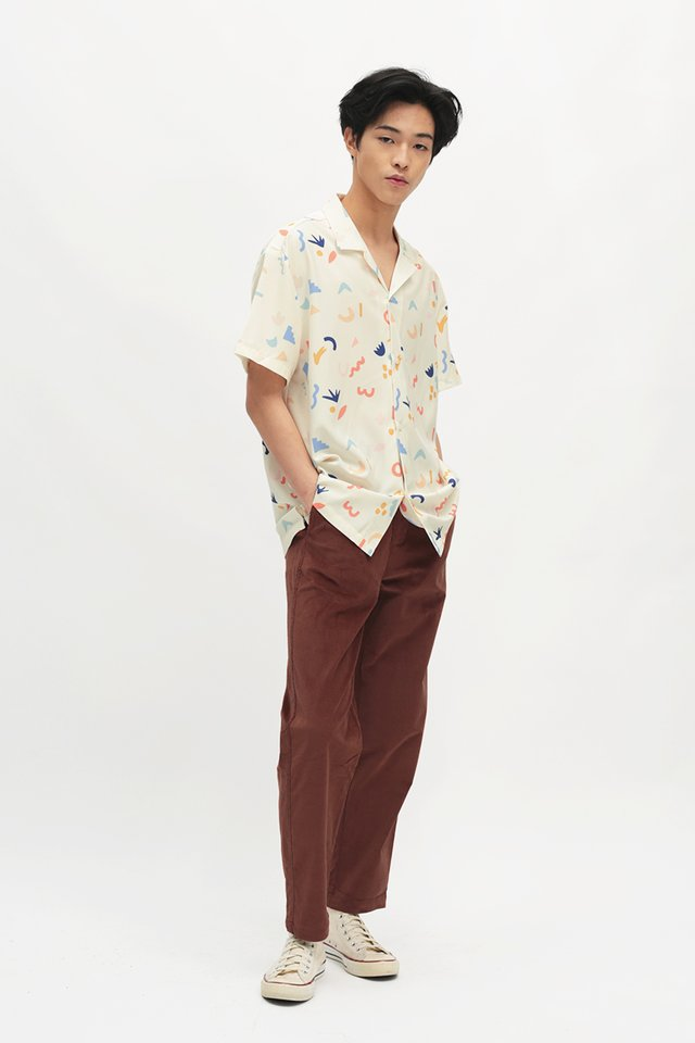 AIDEN DOODLE TIME SHIRT IN CREAM