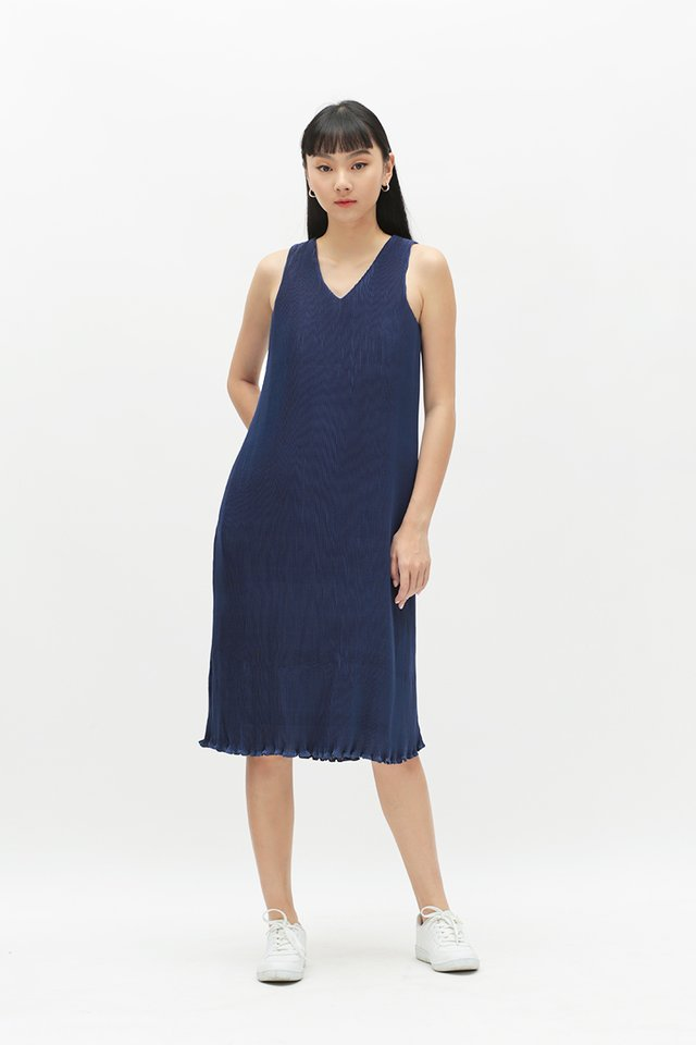 CHARLIZE PLEATED MIDI DRESS IN INDIGO