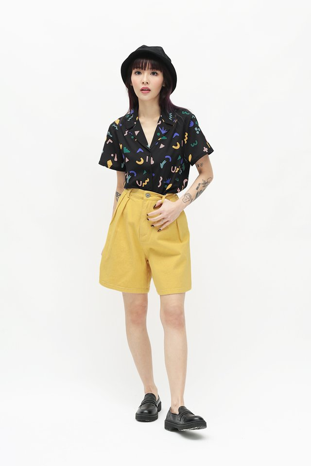 DOODLE TIME CAMP COLLAR SHIRT IN BLACK