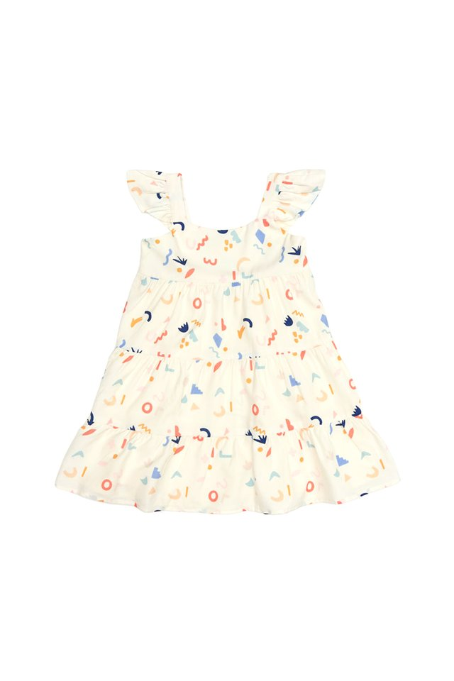 DOODLE TIME FRILL DRESS IN CREAM