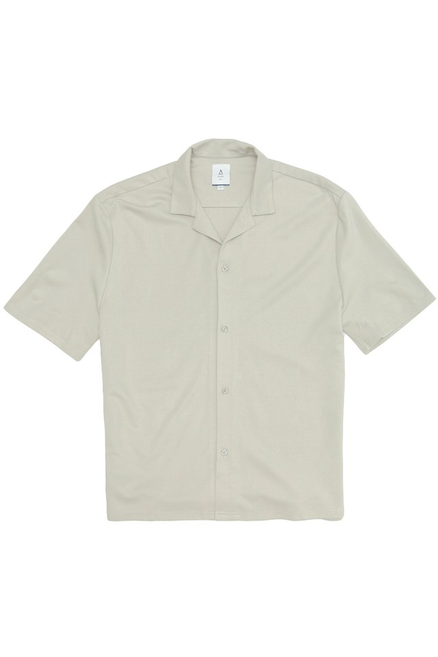 EAMON CAMP COLLAR SHIRT IN GREY