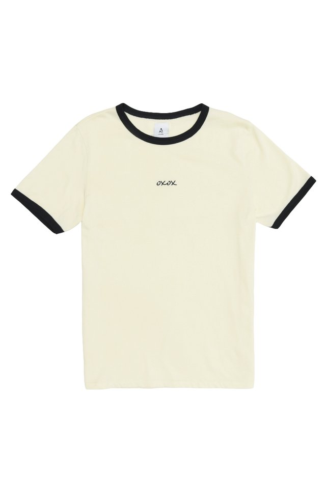 OXOX RINGER TEE IN CREAM NAVY