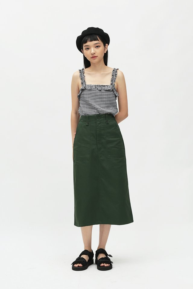 ADRIAN MIDI SKIRT IN FOREST