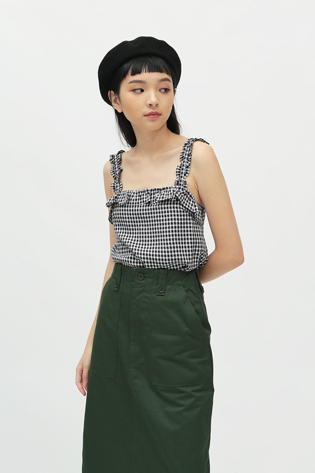 BESSIE GINGHAM FRILL TOP IN BLACK