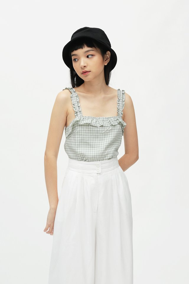 BESSIE GINGHAM FRILL TOP IN FROST