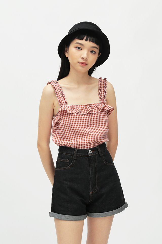 BESSIE GINGHAM FRILL TOP IN RED