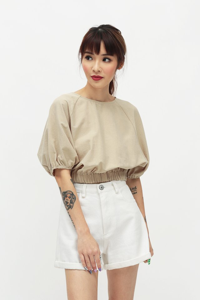 CLOUDY DAYS PUFF SLEEVE BLOUSE IN OAT