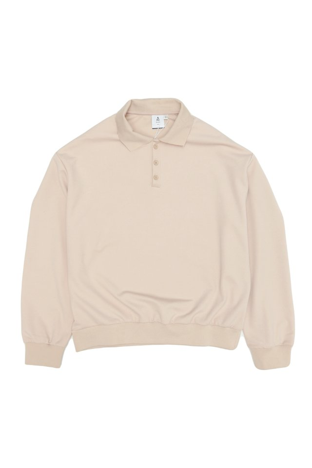 ELIO OVERSIZED LONG SLEEVE POLO IN CREAM