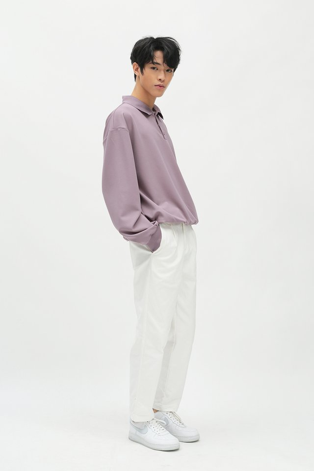 ELIO OVERSIZED LONG SLEEVE POLO IN LILAC