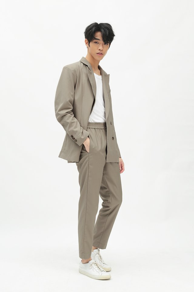 GRAYSON SLIM-FIT ELASTIC WAIST TROUSERS IN TAUPE