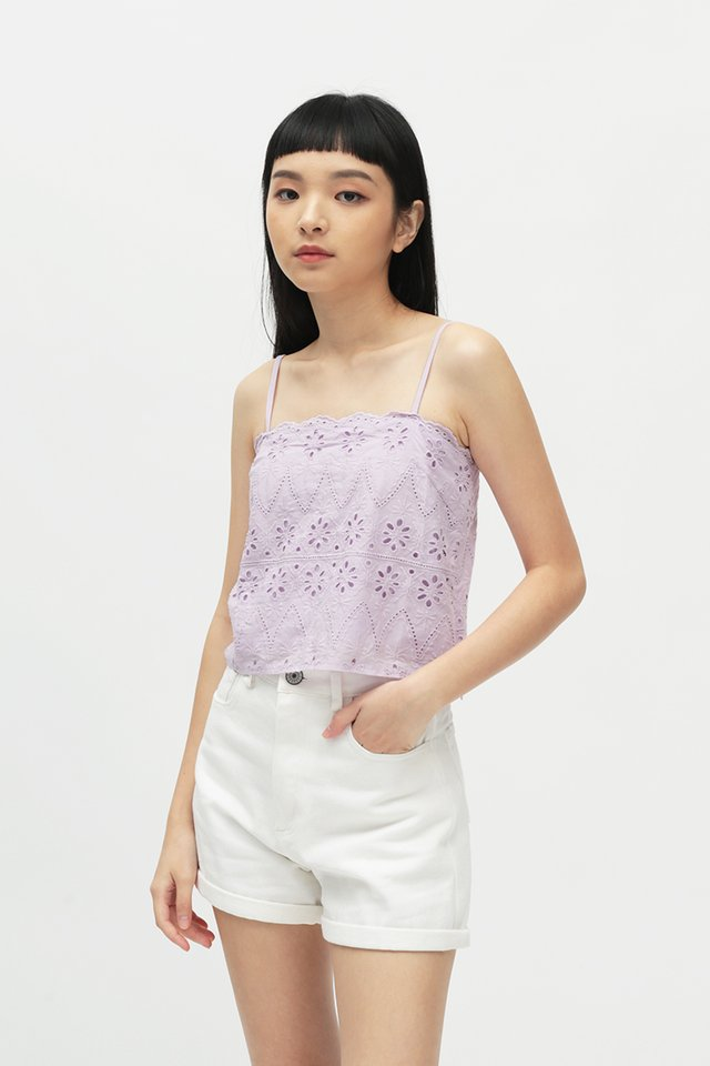 KIKI EYELET TOP IN LILAC