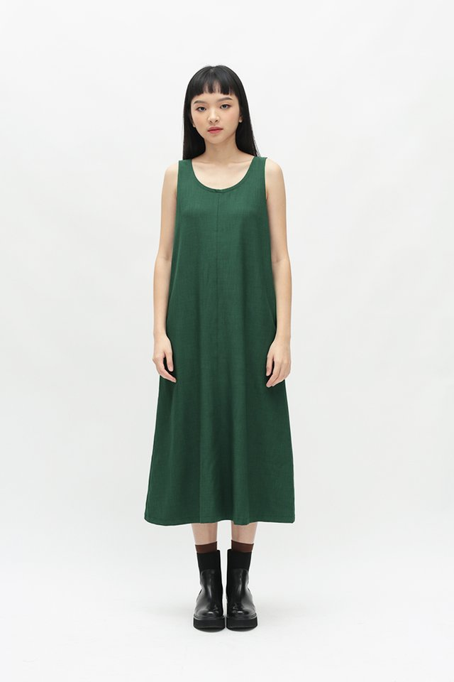 NELLIE SCOOP BACK DRESS IN FOREST