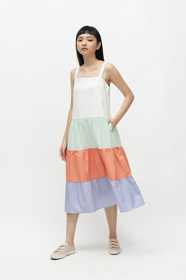 BRIGHTON COLOURBLOCK DRESS IN COTTON CANDY