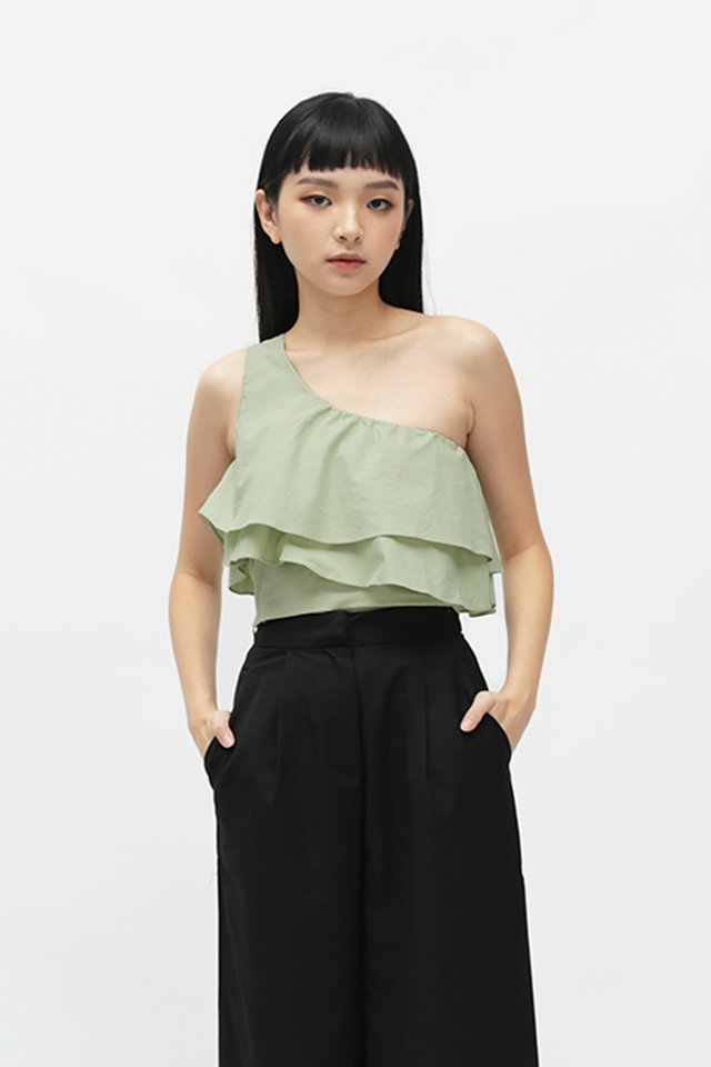 INDIRA FRILL BLOUSE IN LAUREL