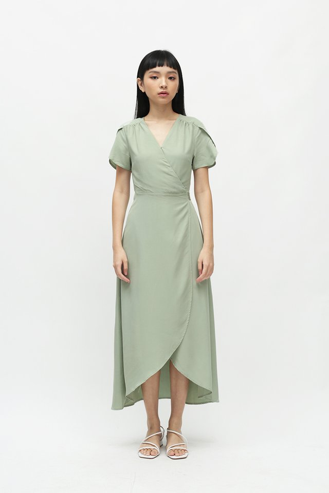KATE OVERLAP WRAP DRESS IN LAUREL