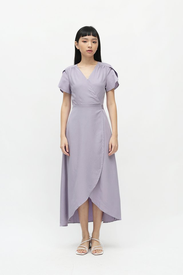 KATE OVERLAP WRAP DRESS IN LAVENDER