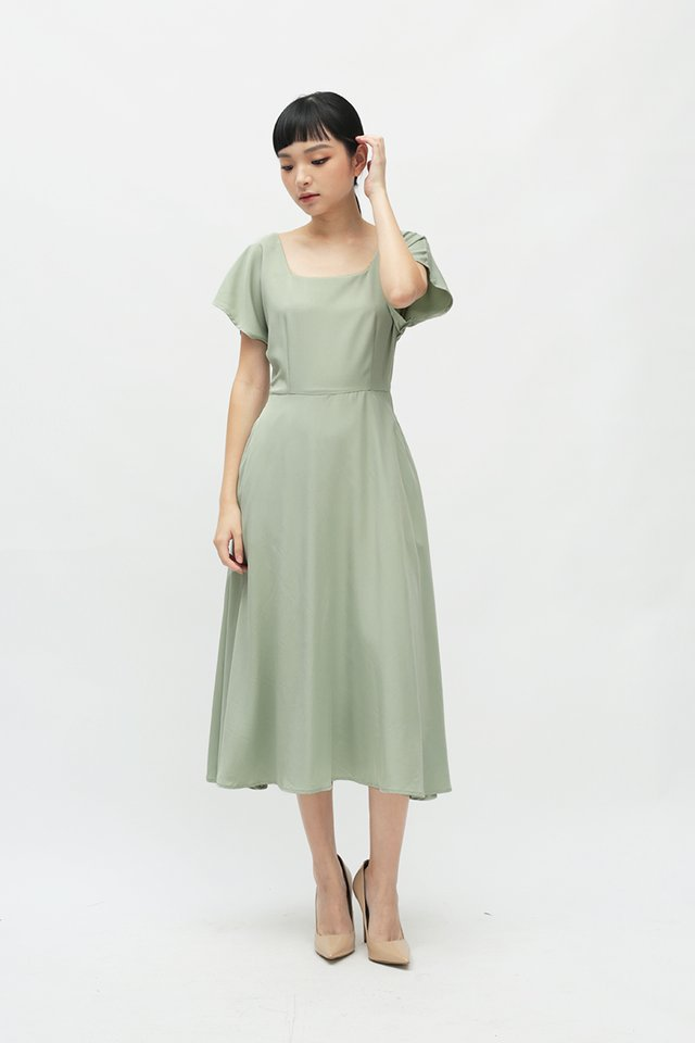 LISBETH SQUARE NECK DRESS IN LAUREL
