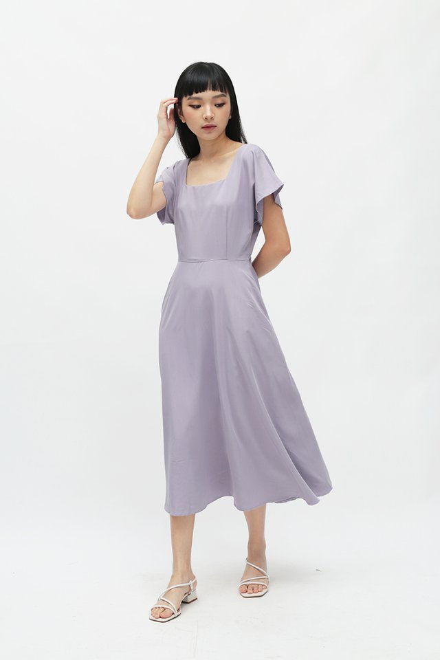 LISBETH SQUARE NECK DRESS IN LAVENDER