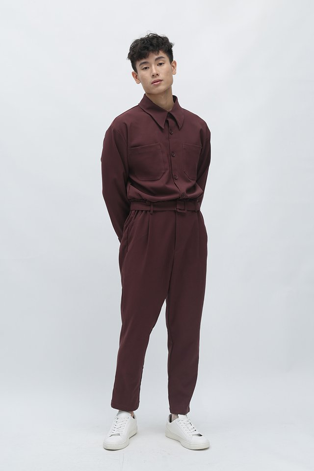 MILLEN LONG SLEEVE JUMPSUIT IN MAHOGANY