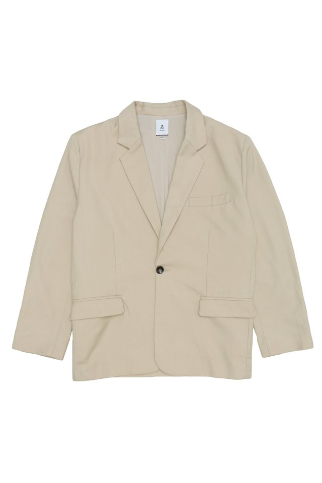 PRESTON STRAIGHT-CUT BLAZER IN CREAM